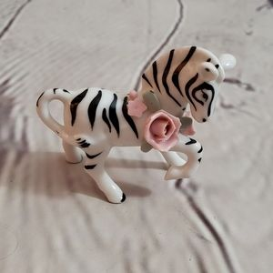Vintage Miniature Zebra with Flowers